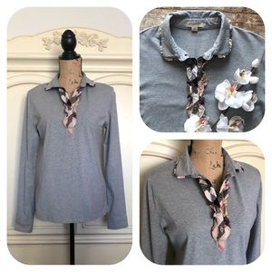 Burberry Brit Ruffled Collar Long Sleeve Top